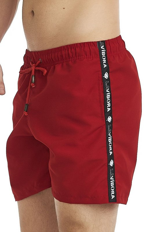 Shorts Praia Masculino Colorido LaVibora Com Faixa Lateral - Vermelho
