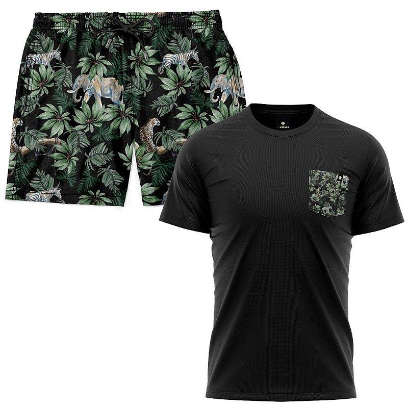 Kit Shorts Praia E Camiseta Bolso Estampado LaVibora - Amazônia