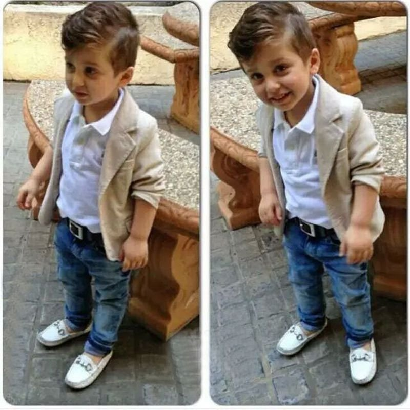 8dcaff53d Conjunto Infantil Social Casaco Camisa e Calça Jeans - Cia Bebê ...