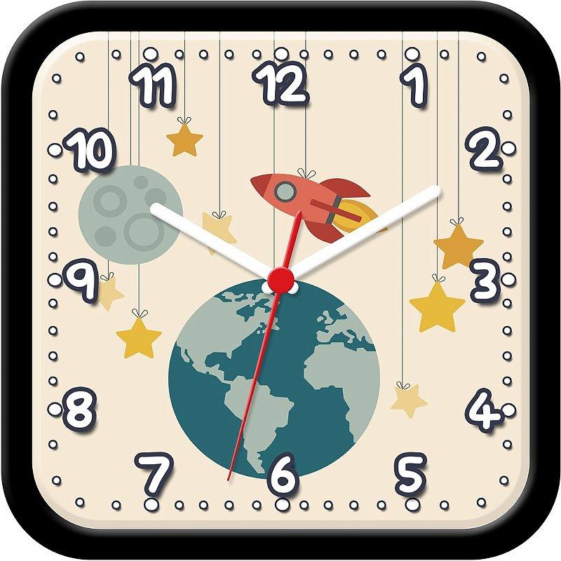 Relógio de Parede divertido - Foguete, planeta e estrelas