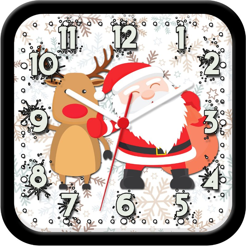 Relógio de parede divertido - Papai Noel e Rena