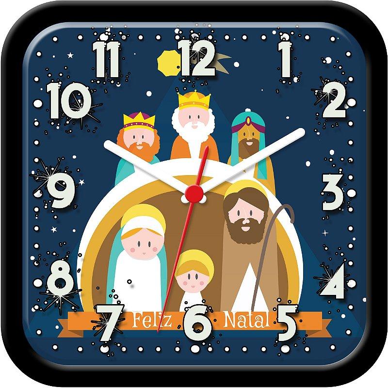 Relógio de parede divertido - Presépio de Natal