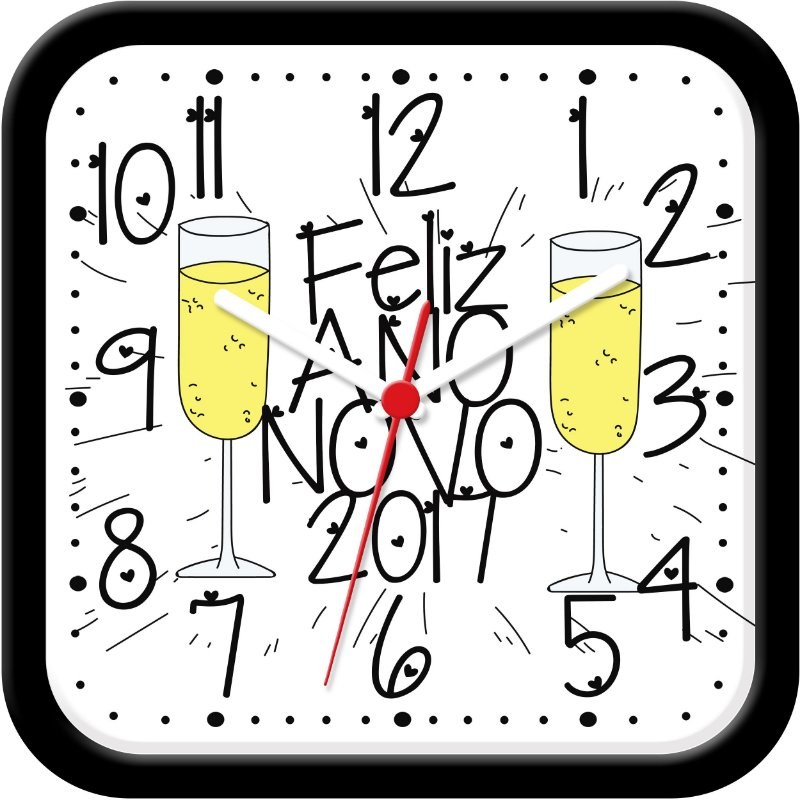Relógio de parede divertido - Feliz Ano Novo - Champagne