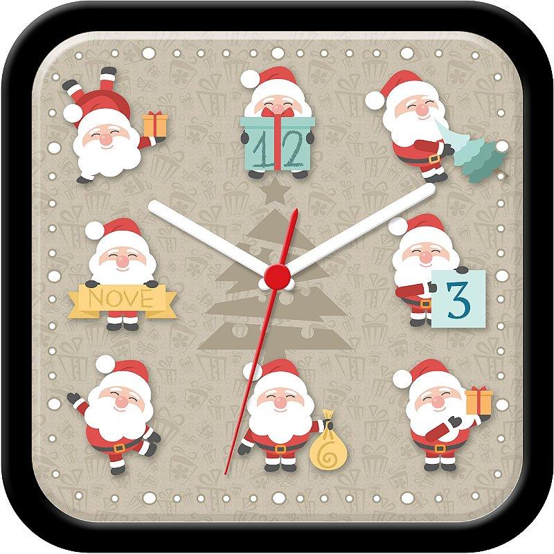 Relógio de parede divertido - Papai Noel - Natal