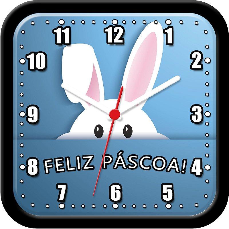 Relógio de parede divertido - Coelho da Páscoa - Feliz Páscoa