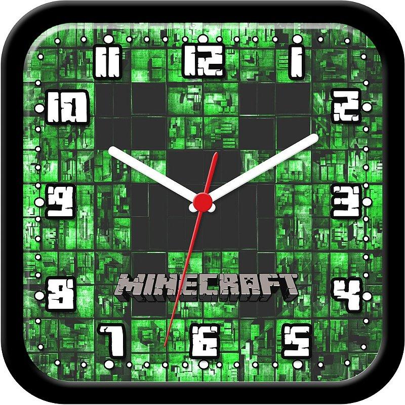 Relógio de parede divertido - Minecraft Green