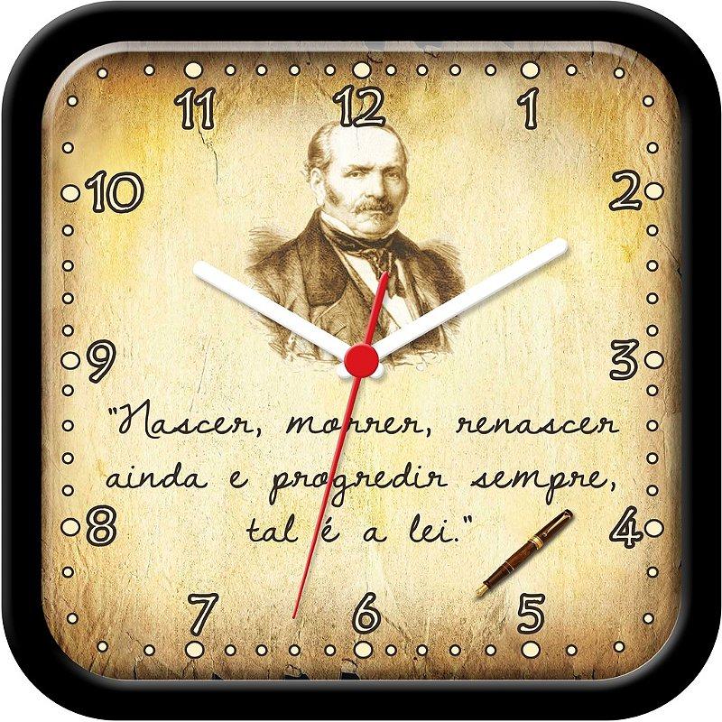 Relógio de Parede divertido - Nascer, Morrer, renascer ainda e progredir sempre, tal é a lei - Allan Kardec