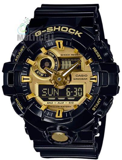 31c84f54597 RELÓGIO CASIO G-SHOCK GA710GB PRETO COM DOURADO 1ª LINHA PREMIUM ...
