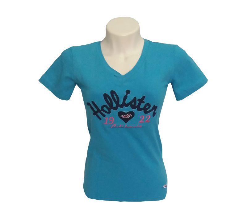 ab9aa83fea Camisetas Feminina Hollister Azul - Kital Barato