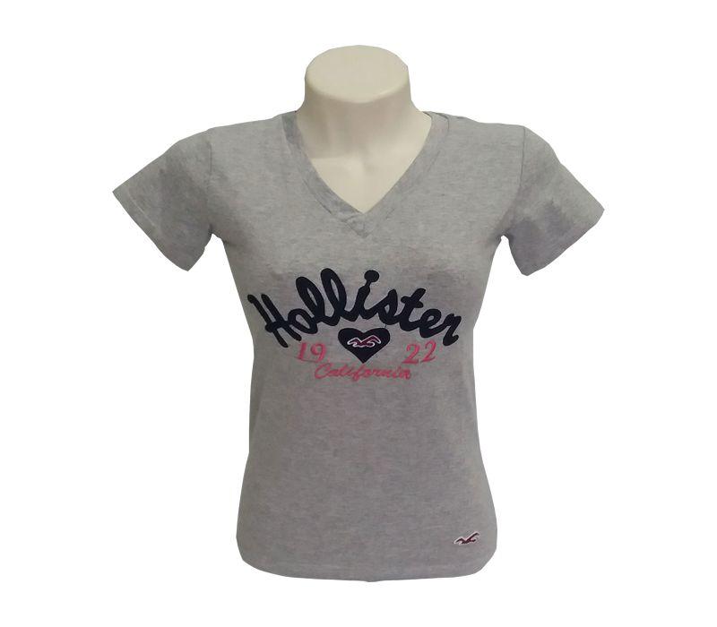 e5640ca77e Camisetas Feminina Hollister Cinza - Kital Barato
