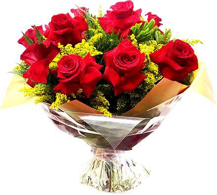 Buquê 12 Rosas Importadas Vermelhas