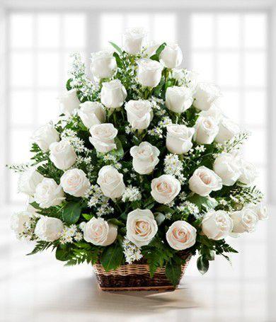 Cesta Fúnebre com  36  rosas brancas ou na  cor chá