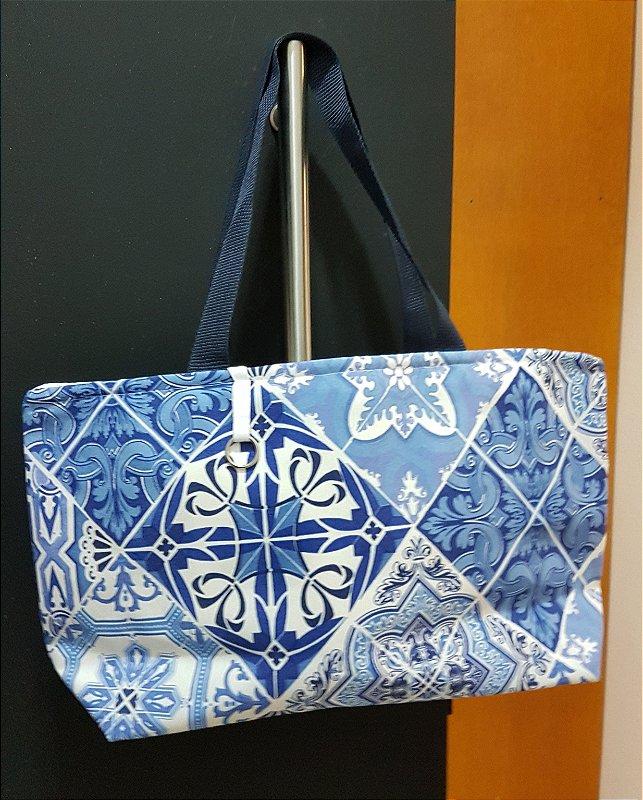 Bolsa de tecido azulejos azuis