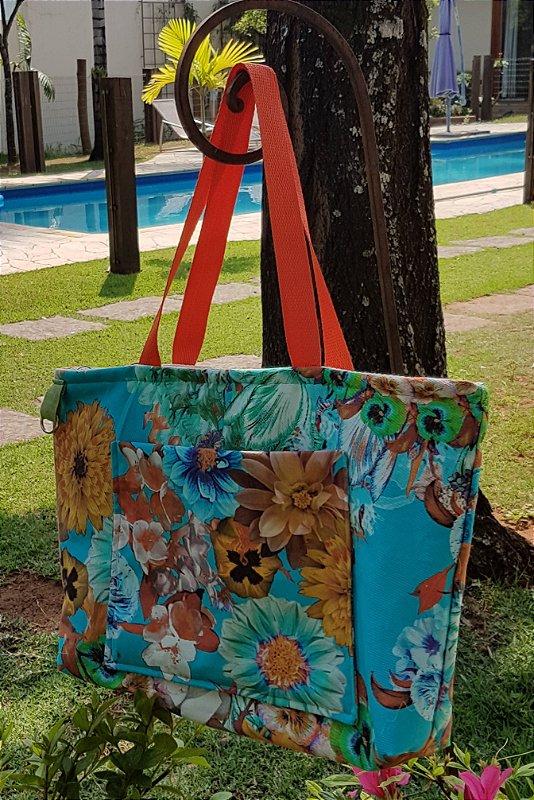 Bolsa tecido estampa colorida azul