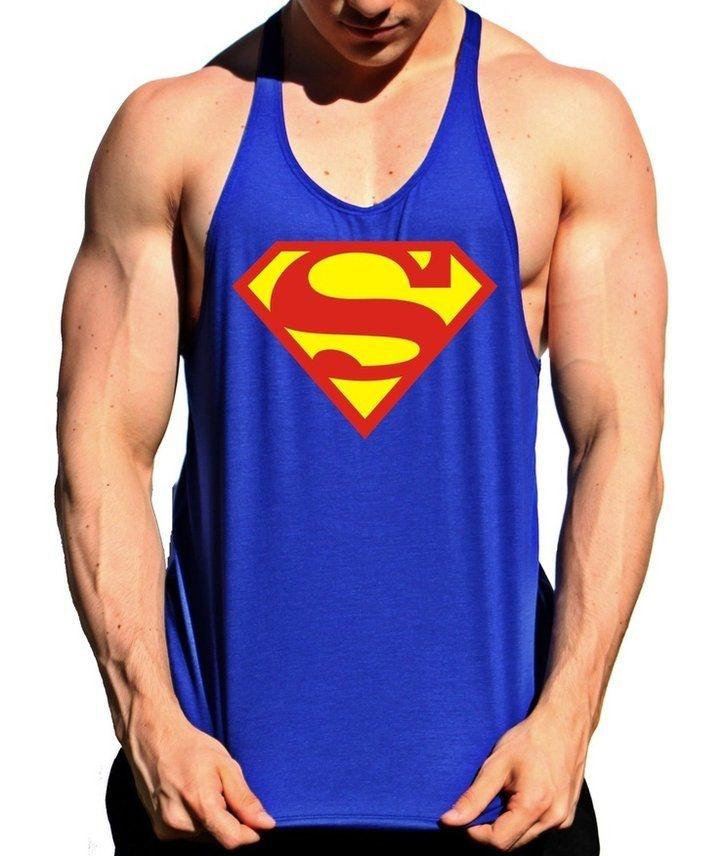 Regata Cavada Musculação Superman Azul