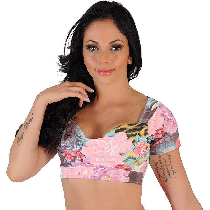 Top Fitness Cropped Estampado Rosa Tamanho G