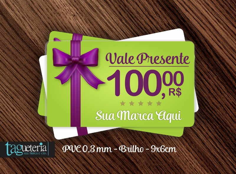 Cartão Vale Presente -  PVC 0,3mm- 9X6cm