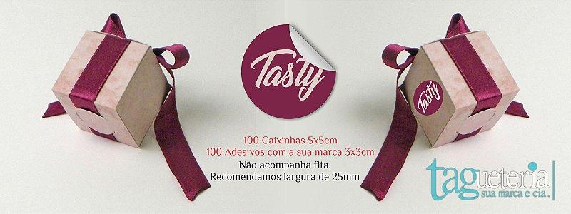 Kit Embalagem Bijuteria Caixinha + Adesivo - 100un