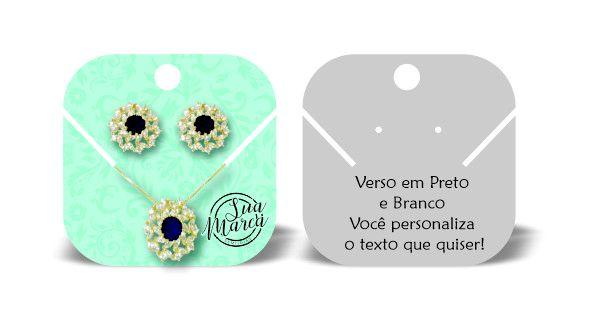 Tag/Cartela para Bijuteria - Brinco + Colar 7x7cm - 1000un
