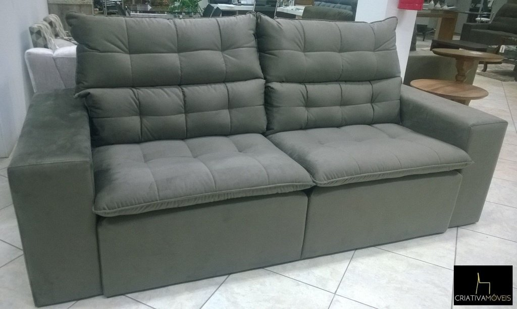 Sofá com molas, retrátil e encosto reclinável com 2,2metros