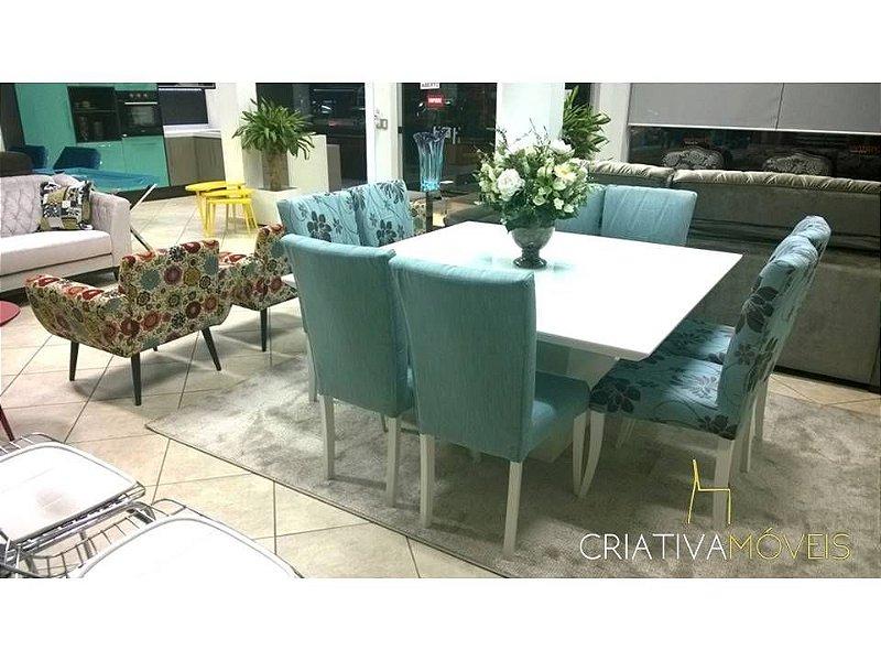 Sala de Jantar 8 lugares, 4 cadeiras florais e 4 lisas,  vidro branco 1,5m x 1,5m com laca branca.