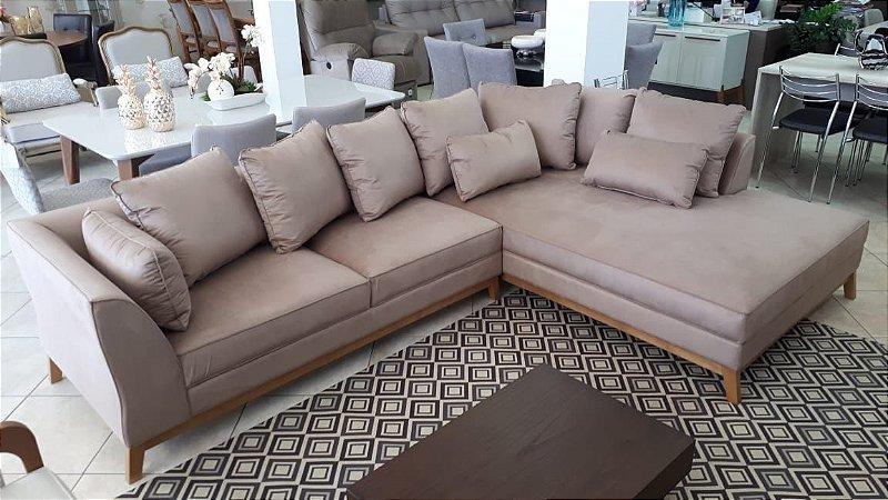 Sofá Canto Curva com 3,10m x 2,10m com pé em Madeira