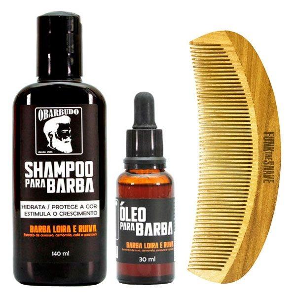 Kit Pente + Shampoo e Óleo para Barba Loira e Ruiva O Barbudo