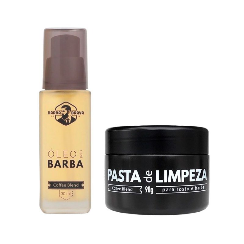Kit Óleo p/ Barba e Pasta de Limpeza Coffee Blend - Barba Brava