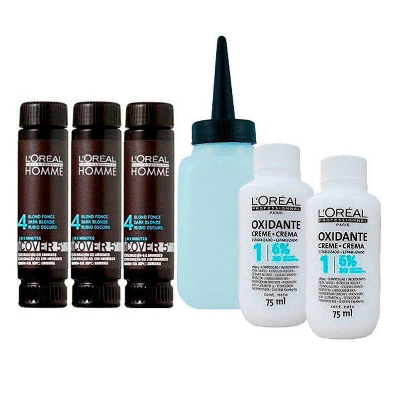 Kit Completo Tonalizante Cover 5' Castanho Médio 4 - L'Oréal Homme