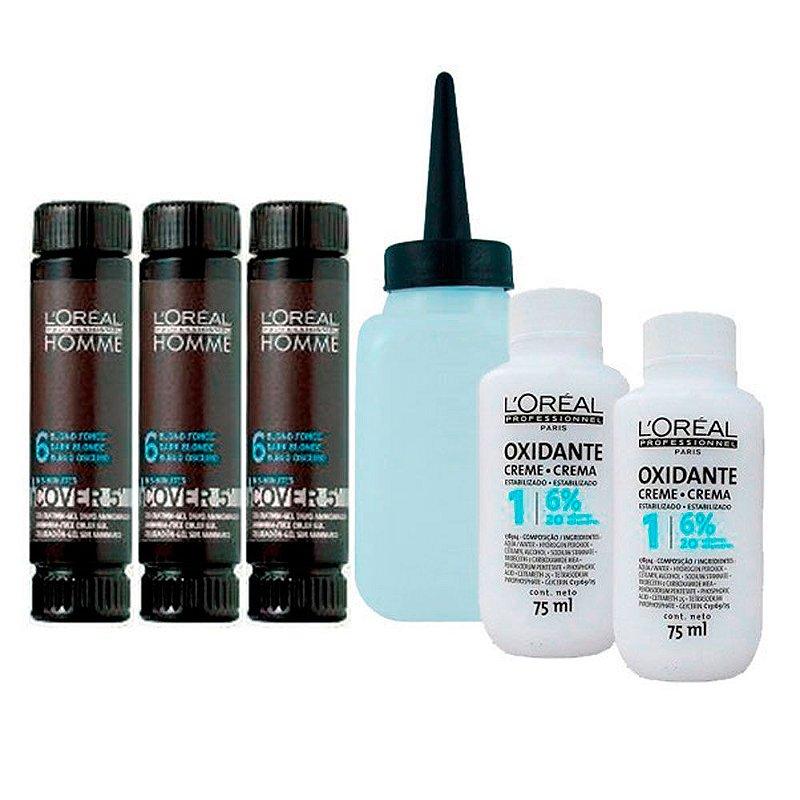 Kit Completo Tonalizante Cover 5' Louro Escuro 6 - L'Oréal Homme
