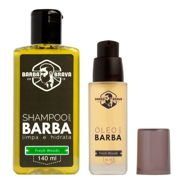 Kit Shampoo e Óleo para Barba Fresh Woods - Barba Brava