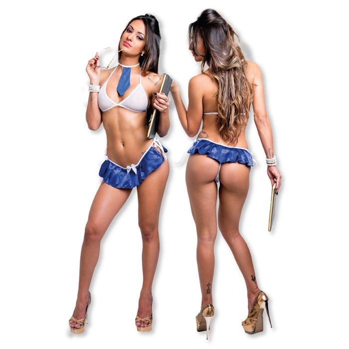 Fantasia Mini Estudante com Saia Azul - Erotic Point