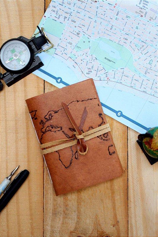 Diário de viagem caramelo mapa-mundi formato A6 Bodoque