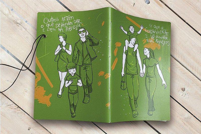 Caderno artesanal Há quem doe generosamente formato A5 Bodoque por: Beto Martins