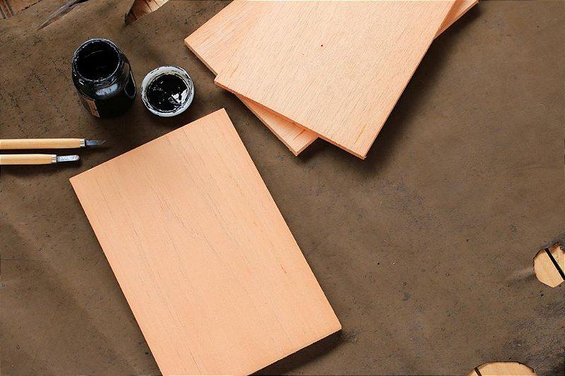Matriz de cedro para xilogravura formato 15 x 10cm Bodoque