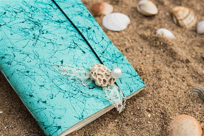 Coleção Sereias #3 caderno artesanal em couro formato A6 Bodoque