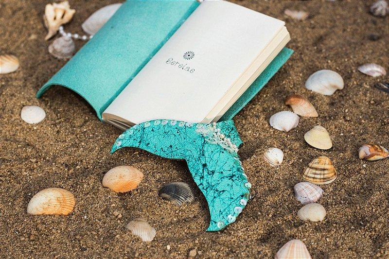 Coleção Sereias #5 caderno artesanal em couro formato A6 Bodoque