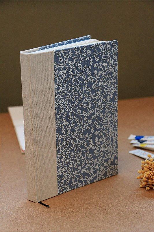Caderno artesanal padrão de Flores capa dura - Bodoque Artes e ofícios