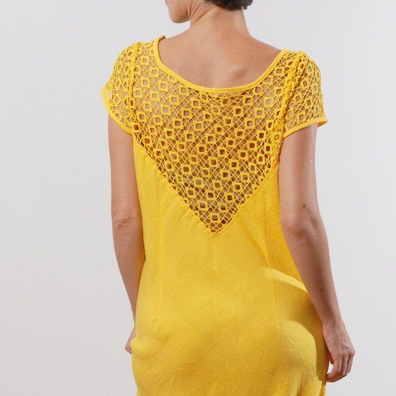 Vestido Plus Size de Tencel Renda Amarelo