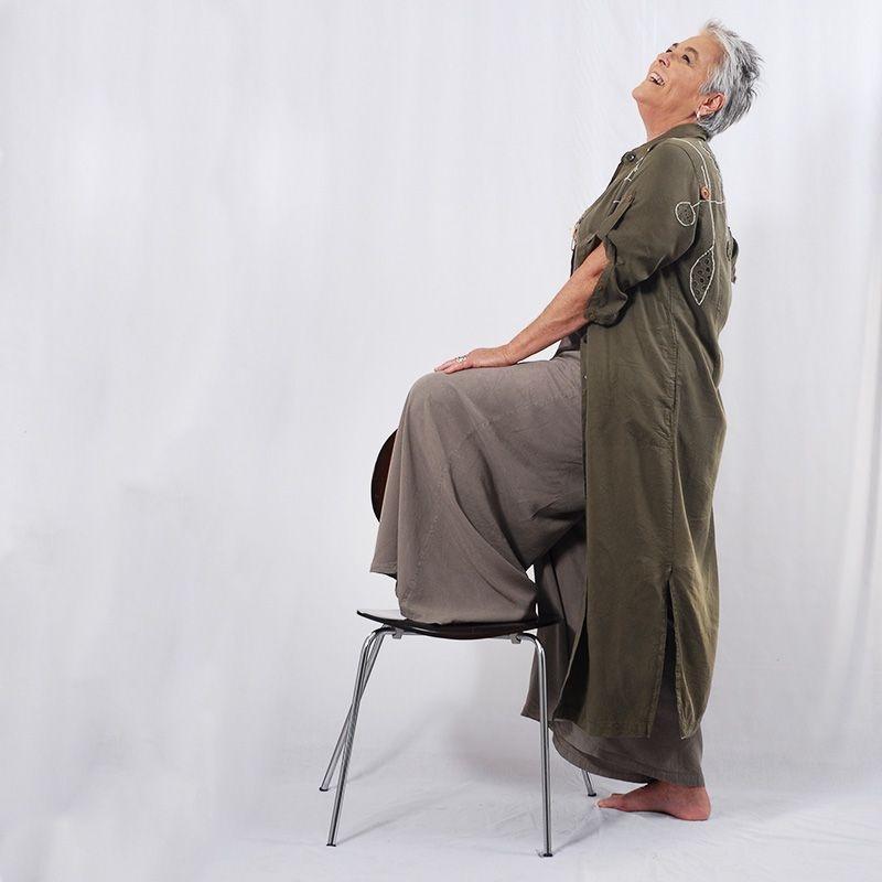 Vestido Plus Size Chemise de Tencel  Verde Oliva