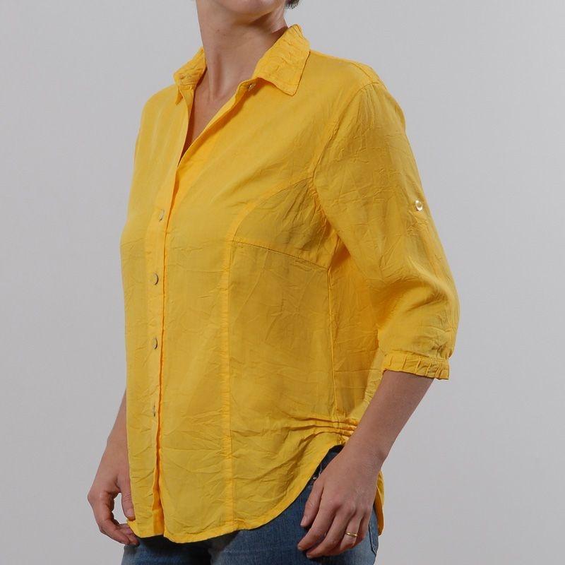 Camisa  Plus Size de Tencel Amarela | Pitanga