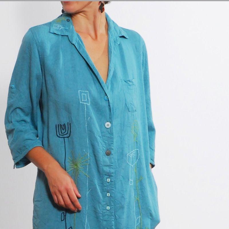 Vestido Chemise Plus Size de Tencel Bordado Azul