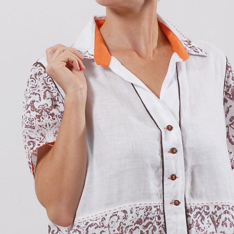 Vestido Plus Size de Linho Nice Laranja Branco e Marrom