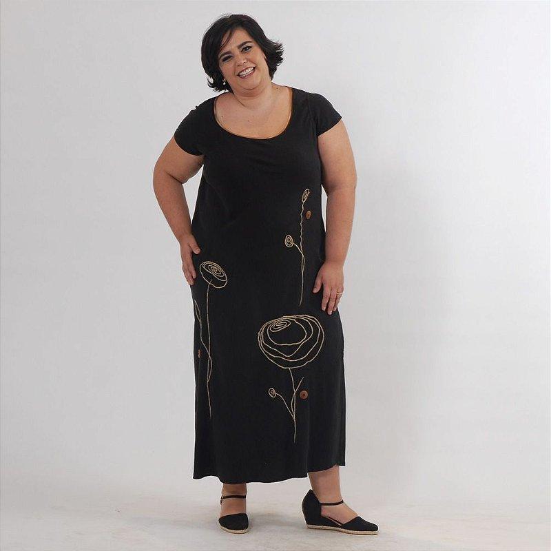 Vestido Plus Size de Tencel Preto e Cobre Bordado