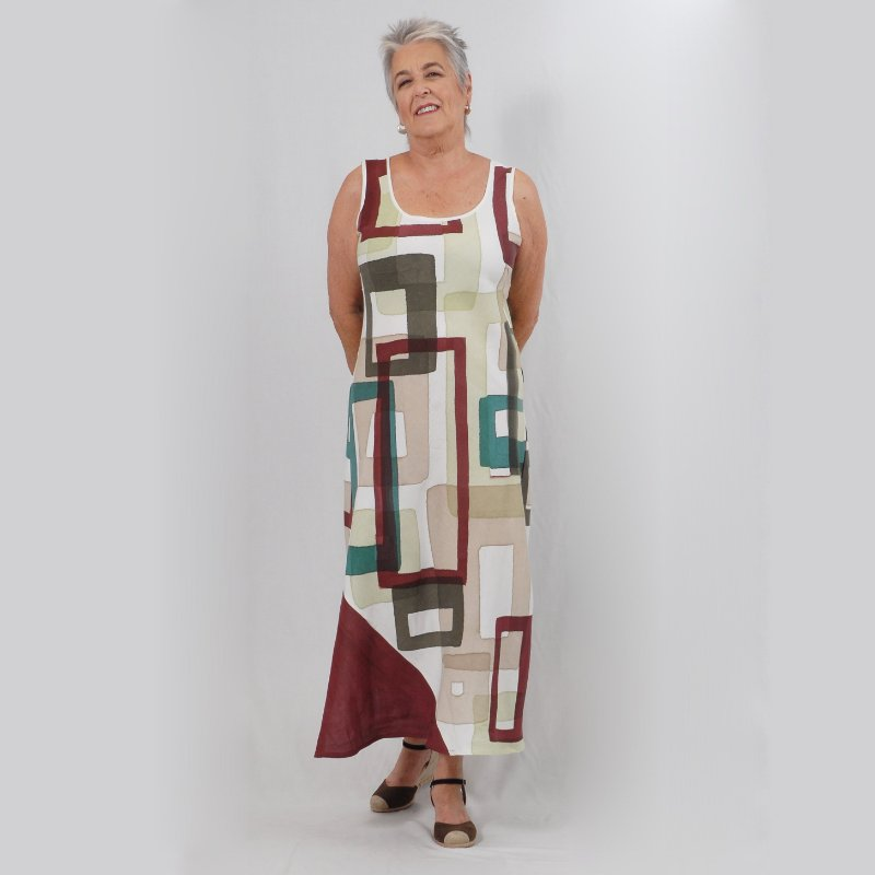 Vestido Plus Size de Linho Aquarela Geométrico