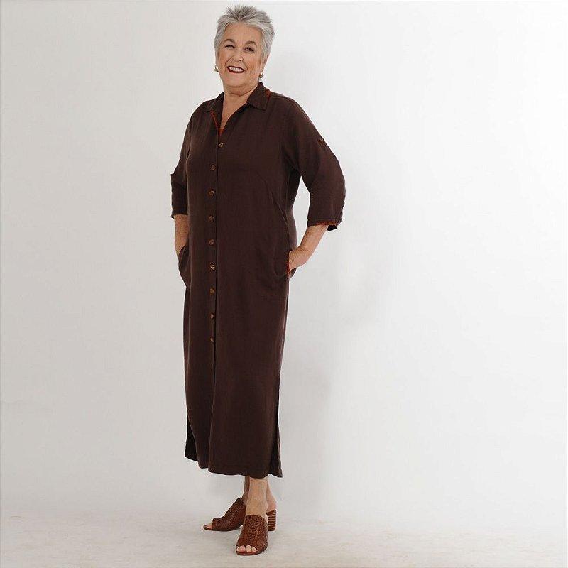 Vestido Plus Size de Tencel Chemise Bordado Café