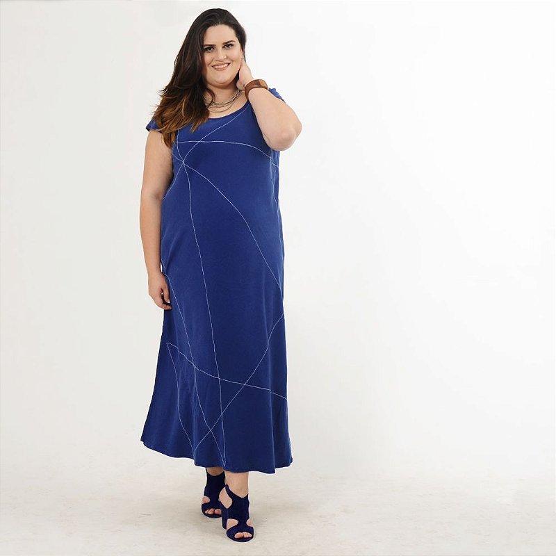 Vestido Plus Size de Tencel Azul Linhas