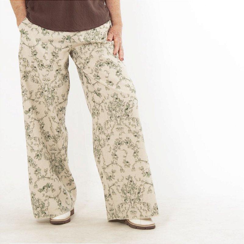 Calça Pantalona Plus Size de Linho Estampa Verde