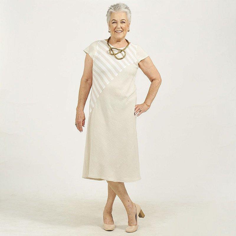 Vestido Midi Plus Size de Linho Patchwork Listra Areia