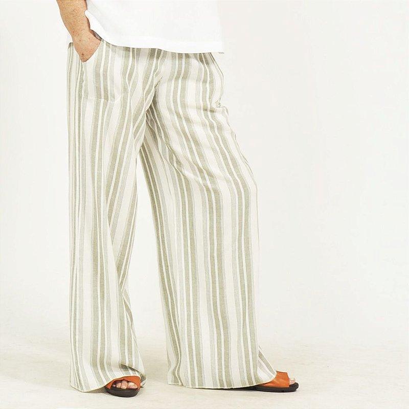 Calça Pantalona Plus Size de Linho Listra Verde
